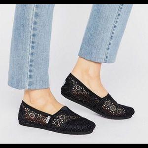 TOMS | Black Crochet Slip-on Flats | Size 8.5